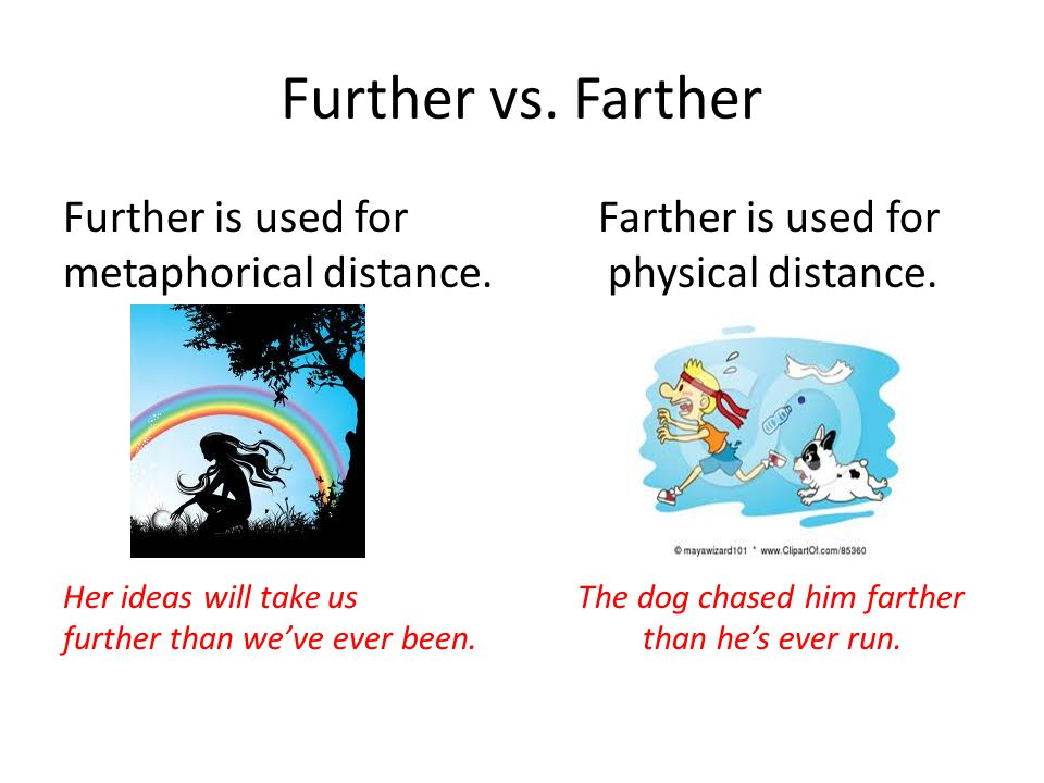 Further vs. Farther Further is used for Farther is used for metaphorical distance.