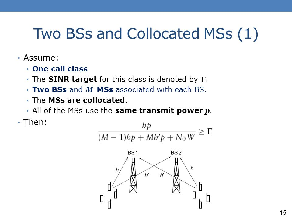 Two BSs and Collocated MSs (1) Assume: One call class The SINR target for this class is denoted by Γ. Two BSs and M MSs associated with each BS. The M