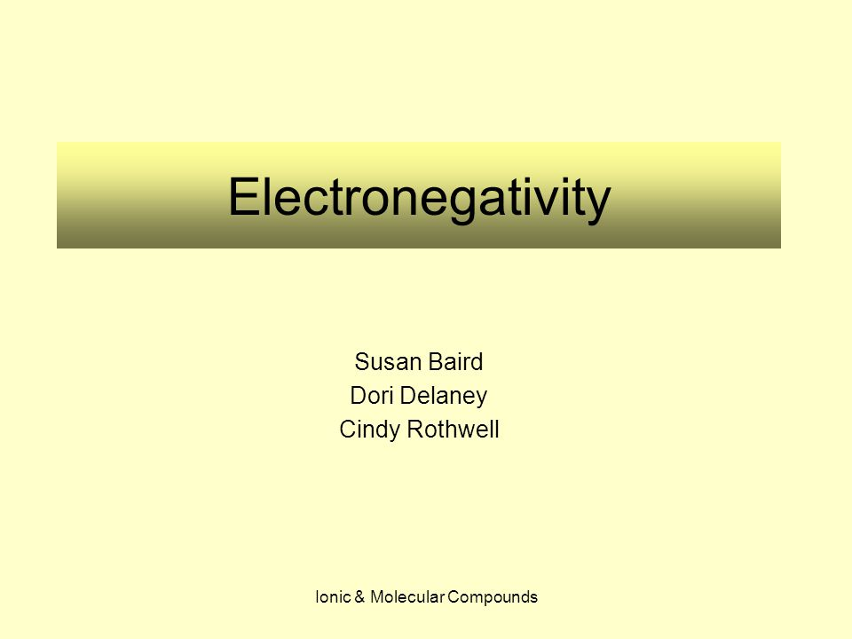 Ionic & Molecular Compounds Electronegativity Susan Baird Dori Delaney Cindy Rothwell