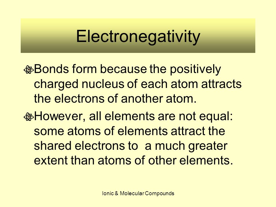 Ionic & Molecular Compounds Electronegativity The ability for some atoms to have different attraction abilities is a property that Chemists call electronegativity Electronegativity is the relative measure of an atom's ability to attract the shared electrons in a chemical bond.