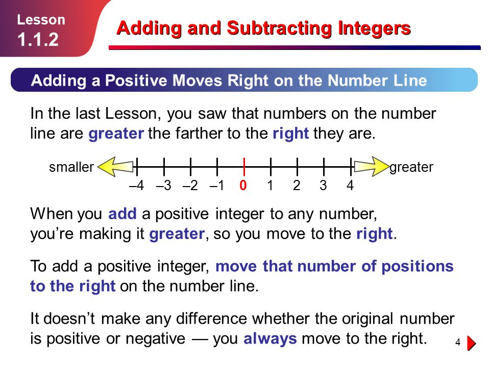 4 Adding and Subtracting Integers Adding a Positive Moves Right on the Number Line In the last Lesson, you saw that numbers on the number line are gre