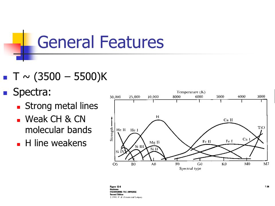 General Features T ~ (3500 – 5500)K Spectra: Strong metal lines Weak CH & CN molecular bands H line weakens