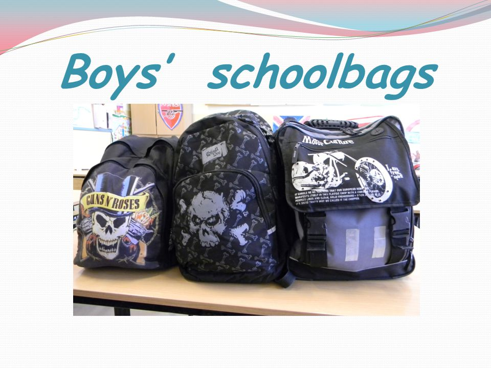 Boys' schoolbags