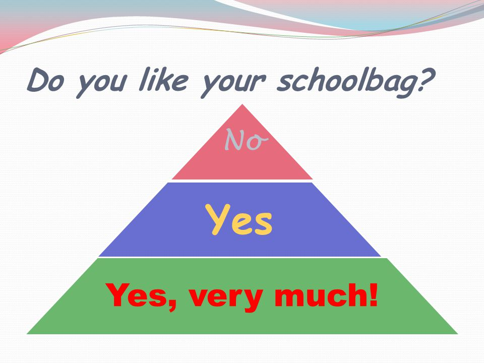 Do you like your schoolbag No Yes Yes, very much!