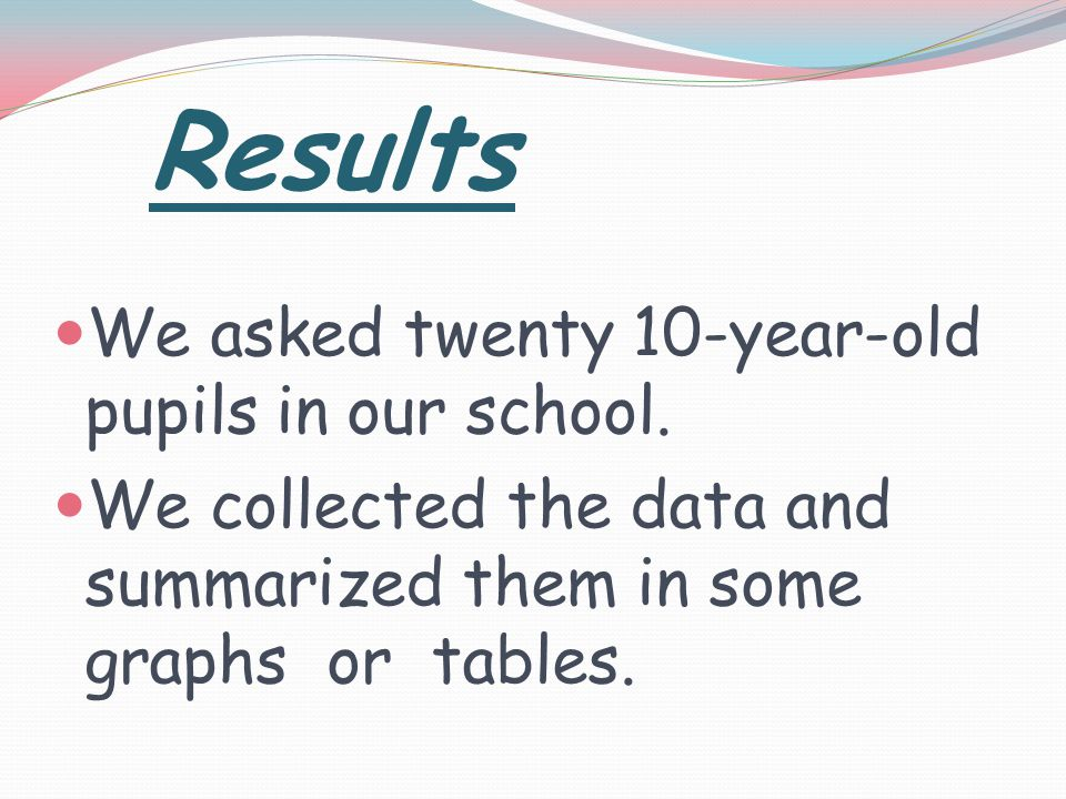 Results We asked twenty 10-year-old pupils in our school.