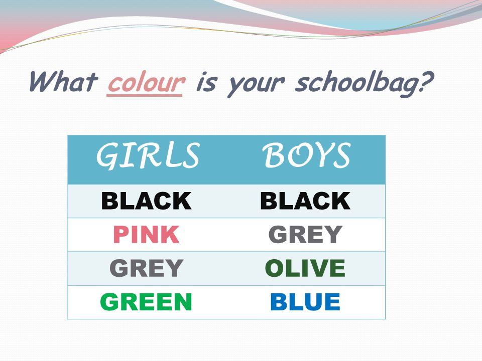What colour is your schoolbag GIRLSBOYS BLACK PINKGREY OLIVE GREENBLUE