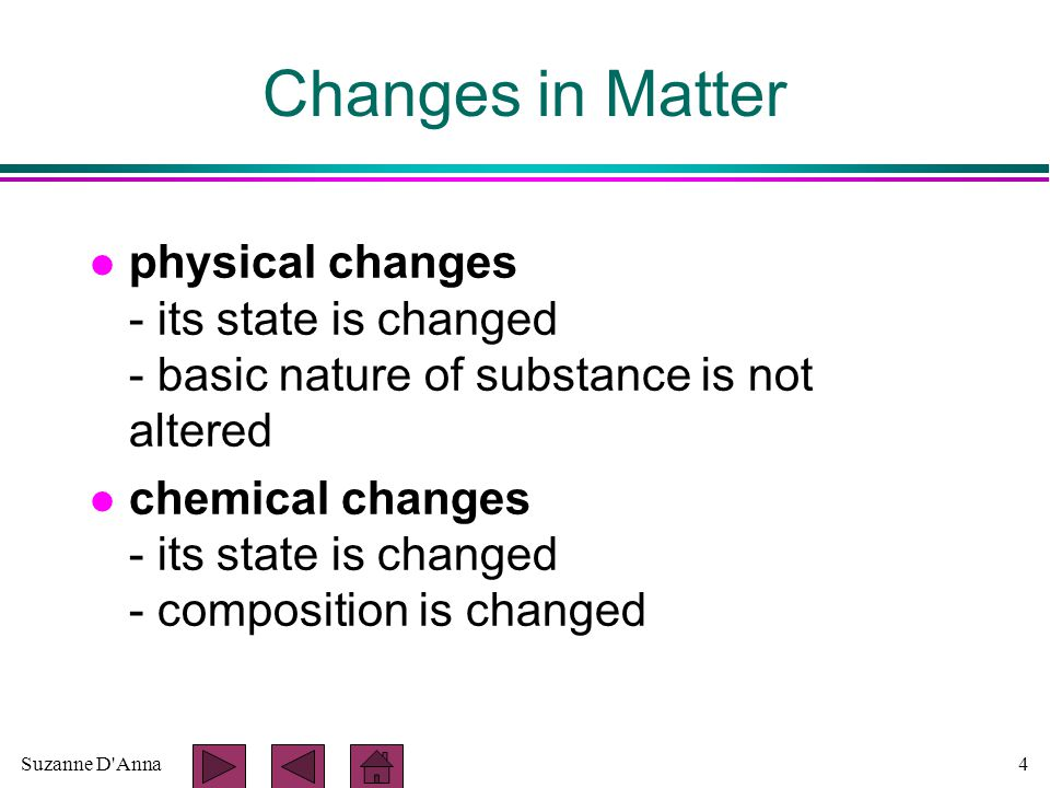 Suzanne D Anna4 Changes in Matter l physical changes - its state is changed - basic nature of substance is not altered l chemical changes - its state is changed - composition is changed