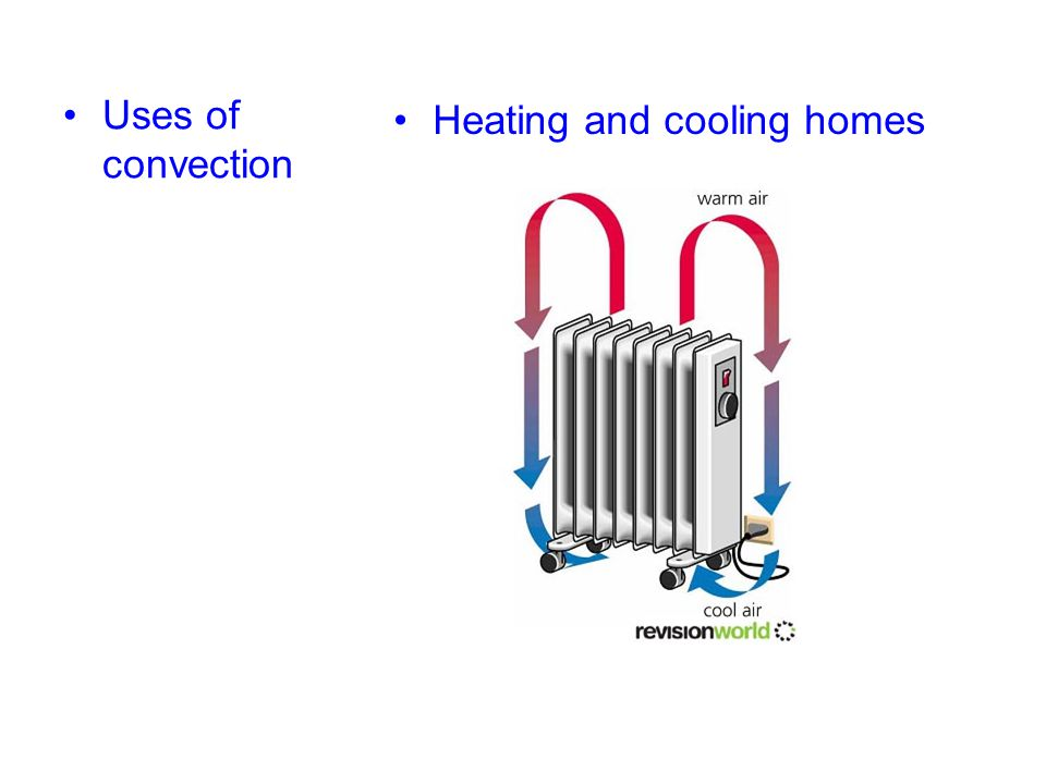 Uses of convection Heating and cooling homes