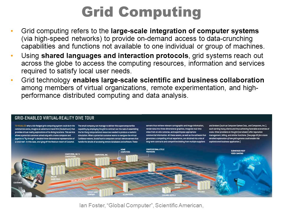 Grid Computing Grid computing refers to the large-scale integration of computer systems (via high-speed networks) to provide on-demand access to data-