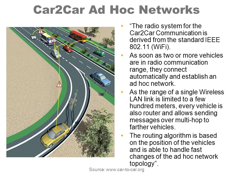 """Car2Car Ad Hoc Networks """"The radio system for the Car2Car Communication is derived from the standard IEEE 802.11 (WiFi). As soon as two or more vehicl"""