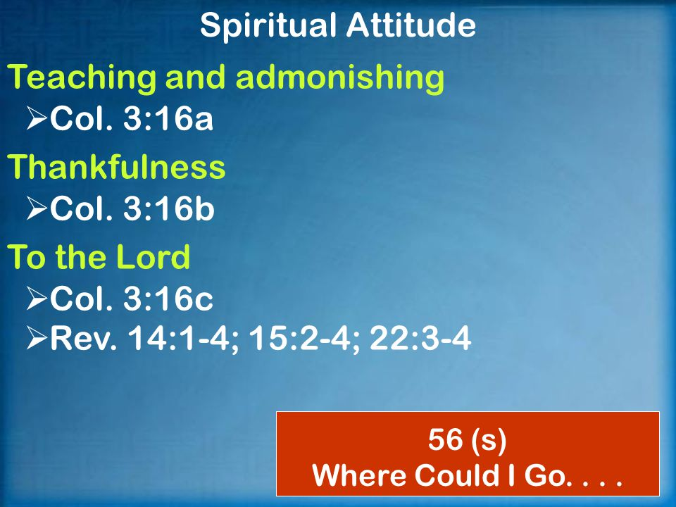 Spiritual Attitude Teaching and admonishing  Col.
