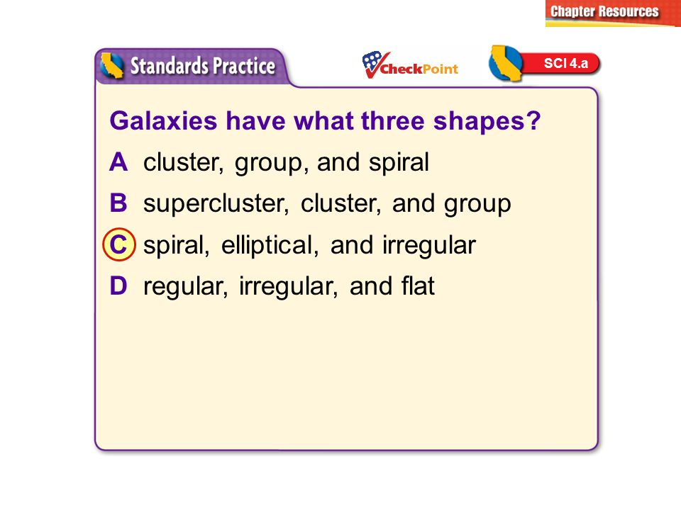 Galaxies have what three shapes? Acluster, group, and spiral Bsupercluster, cluster, and group Cspiral, elliptical, and irregular Dregular, irregular,