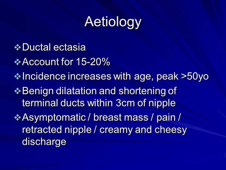 Aetiology  Ductal ectasia  Account for 15-20%  Incidence increases with age, peak >50yo  Benign dilatation and shortening of terminal ducts within
