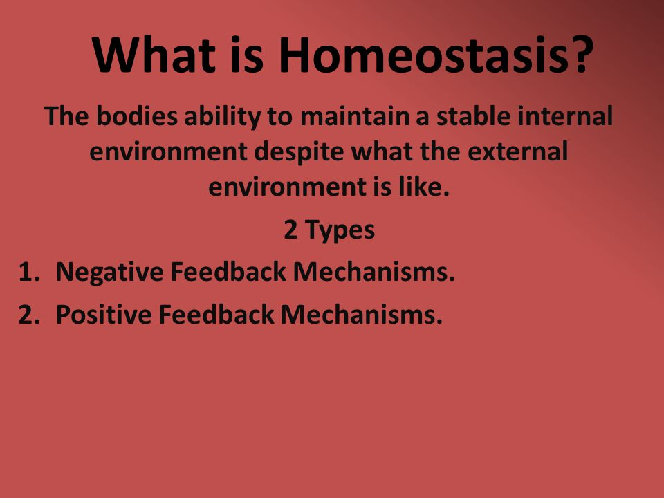 What is Homeostasis? The bodies ability to maintain a stable internal environment despite what the external environment is like. 2 Types 1.Negative Fe