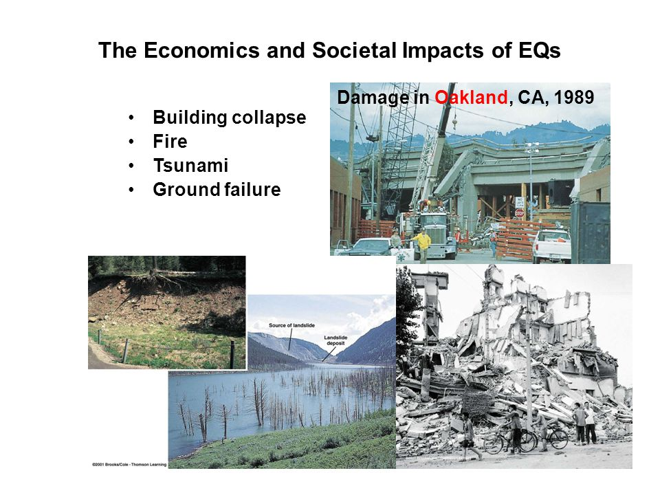 The Economics and Societal Impacts of EQs Damage in Oakland, CA, 1989 Building collapse Fire Tsunami Ground failure