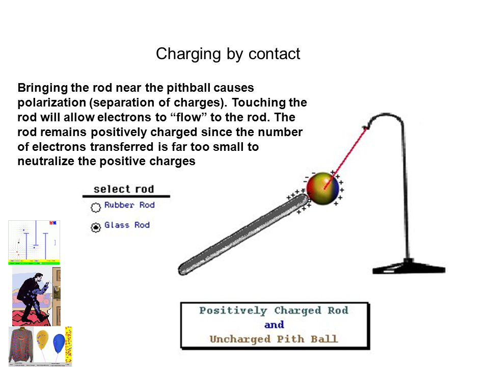 """Charging by contact Bringing the rod near the pithball causes polarization (separation of charges). Touching the rod will allow electrons to """"flow"""" to"""