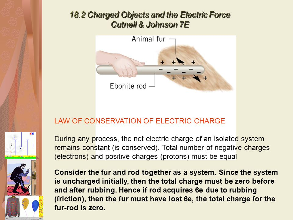 18.2 Charged Objects and the Electric Force Cutnell & Johnson 7E LAW OF CONSERVATION OF ELECTRIC CHARGE During any process, the net electric charge of