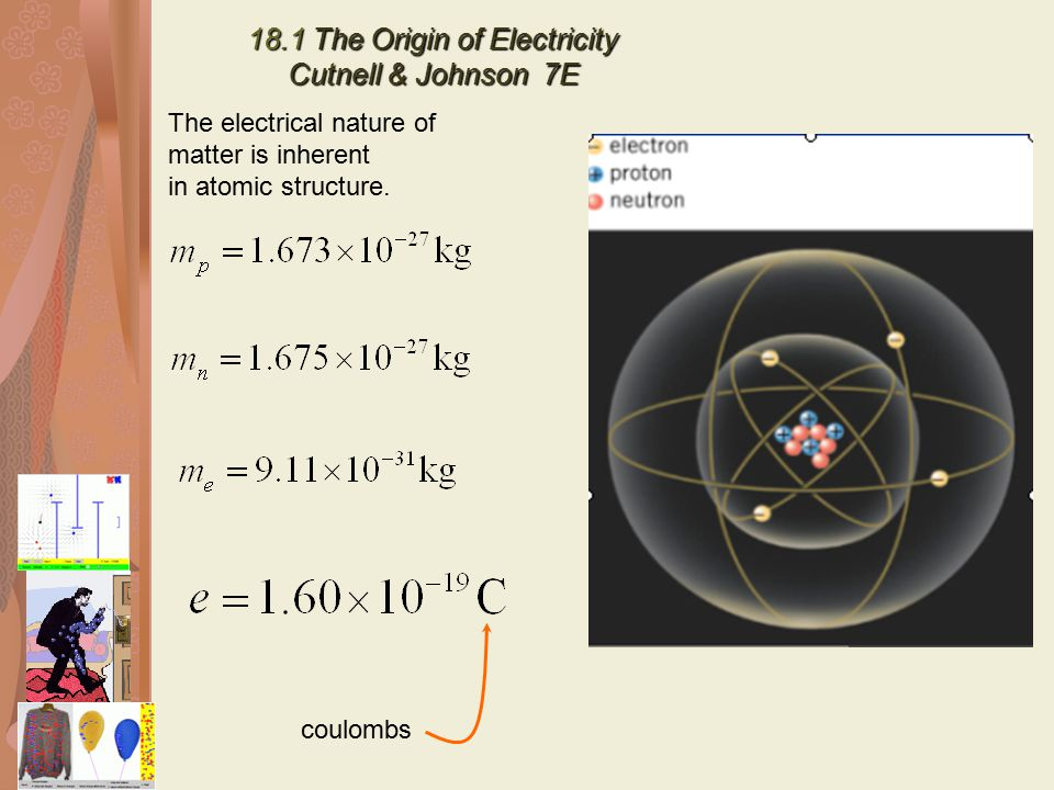 18.1 The Origin of Electricity Cutnell & Johnson 7E The electrical nature of matter is inherent in atomic structure. coulombs