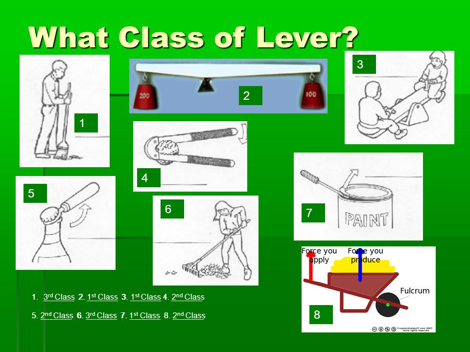 What Class of Lever. 1 7 6 4 5 3 2 8 1._______ 2.
