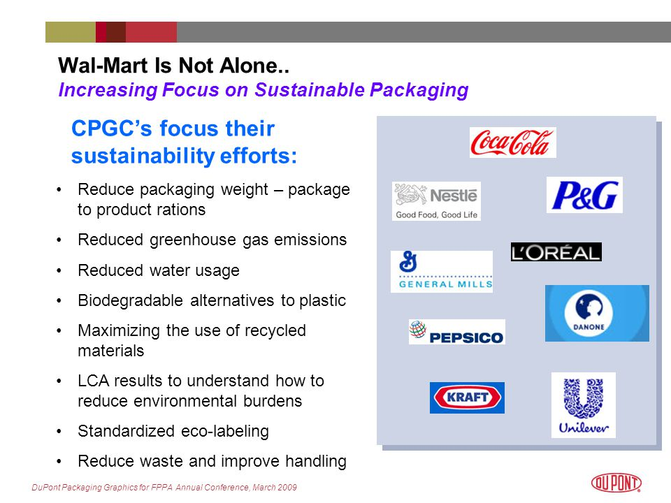 DuPont Packaging Graphics for FPPA Annual Conference, March 2009 Wal-Mart Is Not Alone..