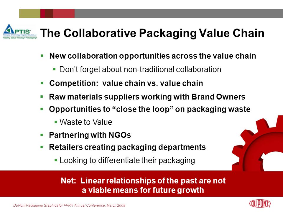 DuPont Packaging Graphics for FPPA Annual Conference, March 2009 The Sustainable Packaging Leaders Linkages to retail &consumer products companies strengthening Cooperation and collaboration platforms expanding Focused on energy, emissions & natural resources High levels of visibility & influence SUSTAINABLE PACKAGING COALITION