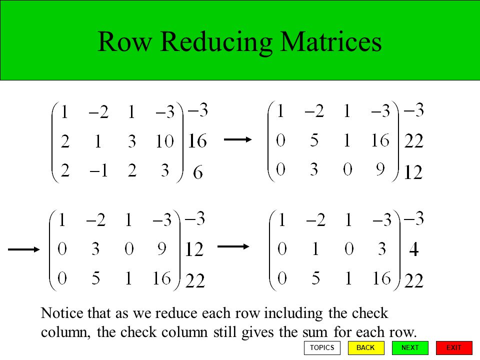Row Reducing Matrices Notice that as we reduce each row including the check column, the check column still gives the sum for each row.