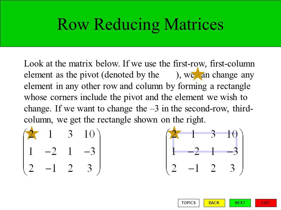 Row Reducing Matrices Look at the matrix below.