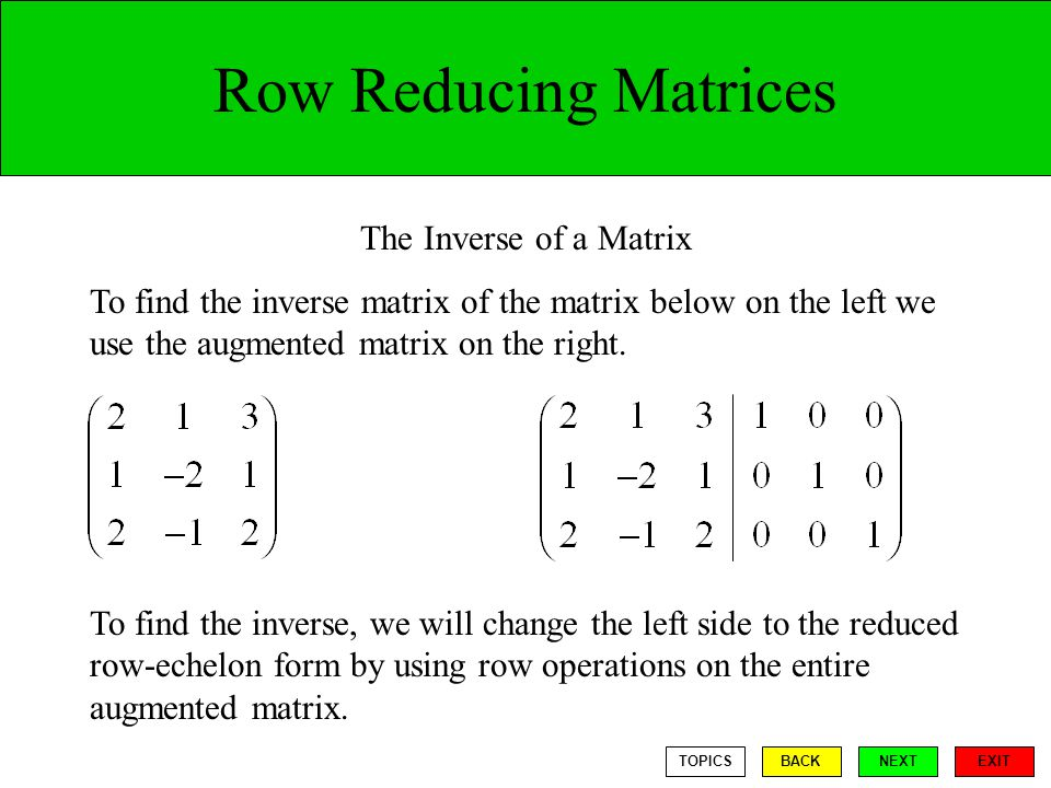 Row Reducing Matrices The Inverse of a Matrix To find the inverse matrix of the matrix below on the left we use the augmented matrix on the right.
