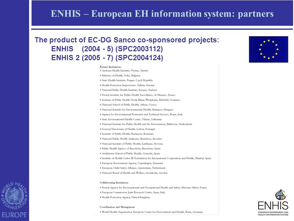 ENHIS – European EH information system: partners The product of EC-DG Sanco co-sponsored projects: ENHIS (2004 - 5) (SPC2003112) ENHIS 2 (2005 - 7) (SPC2004124)