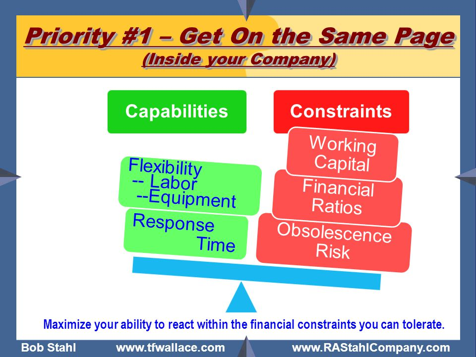 Bob Stahl www.tfwallace.com www.RAStahlCompany.com Priority #1 – Get On the Same Page (Inside your Company) Maximize your ability to react within the