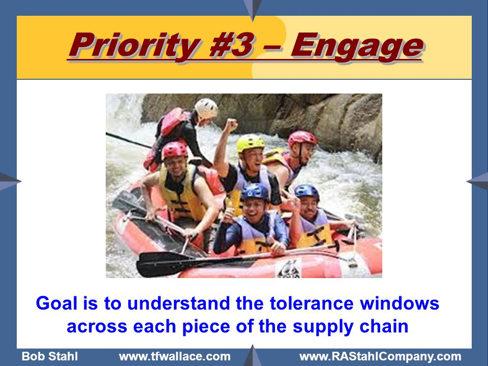 Bob Stahl www.tfwallace.com www.RAStahlCompany.com Priority #3 – Engage Goal is to understand the tolerance windows across each piece of the supply ch