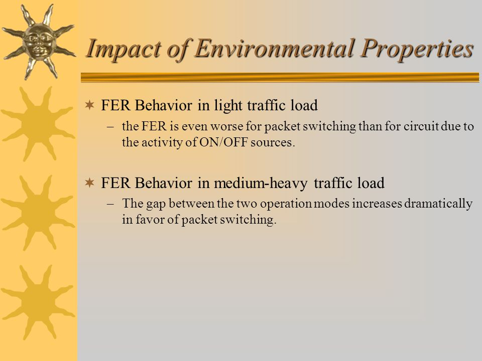 Impact of Environmental Properties  FER Behavior in light traffic load –the FER is even worse for packet switching than for circuit due to the activity of ON/OFF sources.