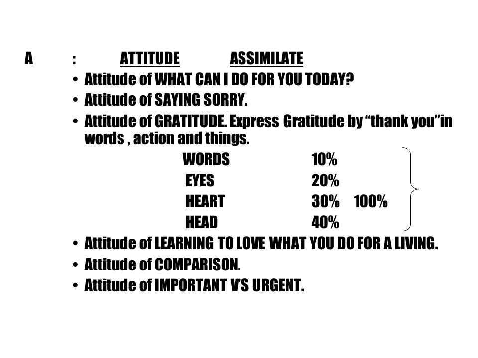 A:ATTITUDE ASSIMILATE Attitude of WHAT CAN I DO FOR YOU TODAY.