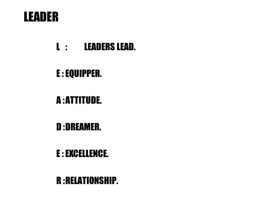 LEADER L:LEADERS LEAD. E :EQUIPPER. A :ATTITUDE. D :DREAMER. E :EXCELLENCE. R :RELATIONSHIP.