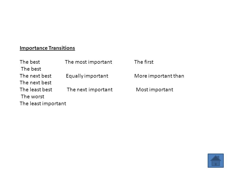 Importance Transitions The best The most important The first The best The next best Equally important More important than The next best The least best