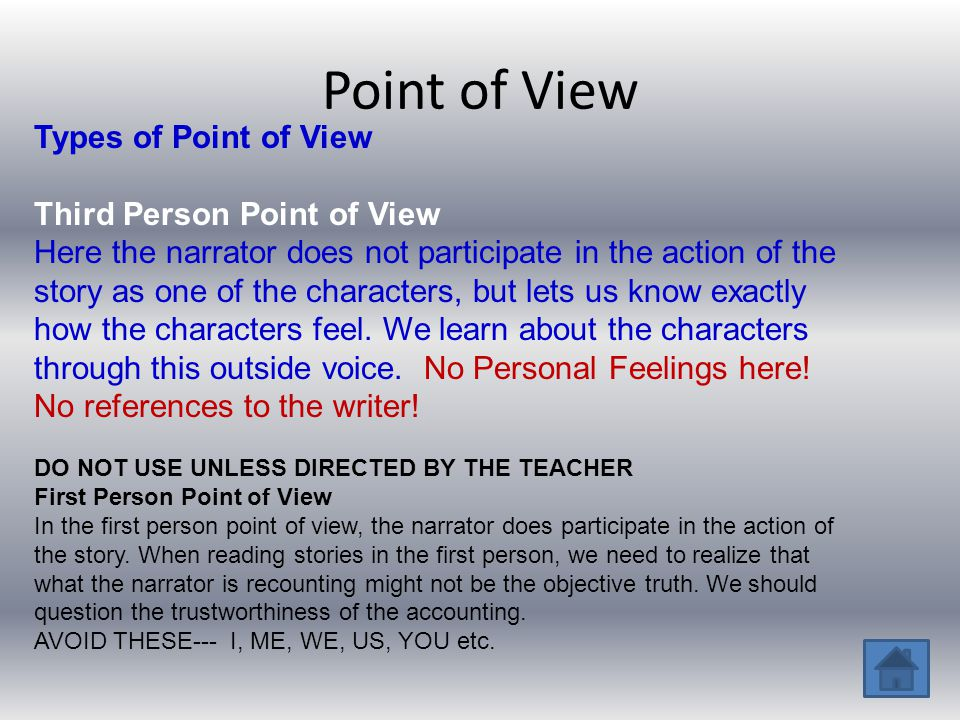 Point of View Types of Point of View Third Person Point of View Here the narrator does not participate in the action of the story as one of the charac