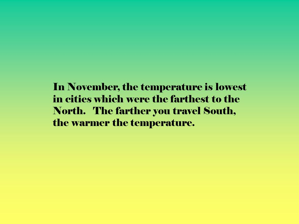 In November, the temperature is lowest in cities which were the farthest to the North.
