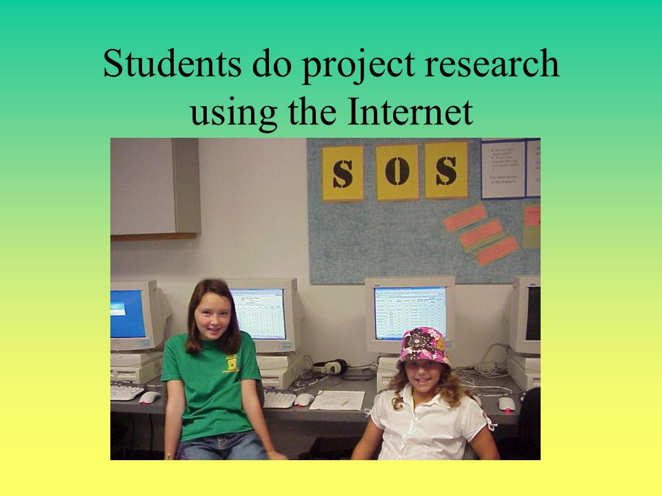 Students do project research using the Internet