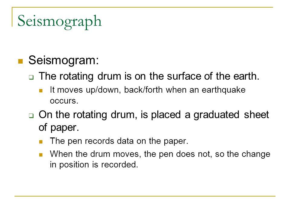 Seismograph Seismographs show three zigzags for each earthquake.