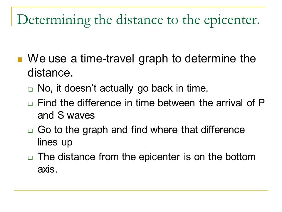 Determining the distance to the epicenter. We use a time-travel graph to determine the distance.