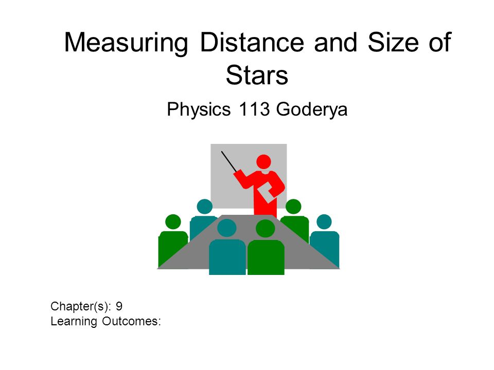 Measuring Distance and Size of Stars Physics 113 Goderya Chapter(s): 9 Learning Outcomes: