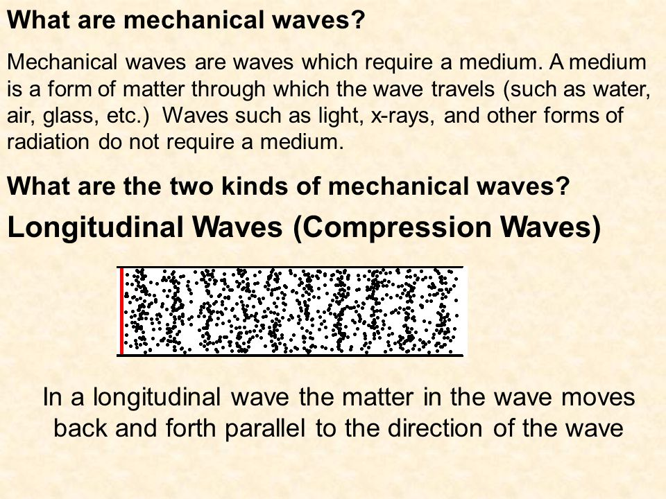 What are mechanical waves.Mechanical waves are waves which require a medium.