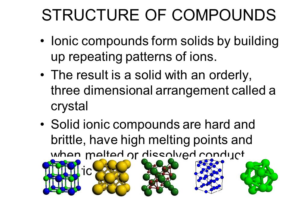 STRUCTURE OF COMPOUNDS Ionic compounds form solids by building up repeating patterns of ions.