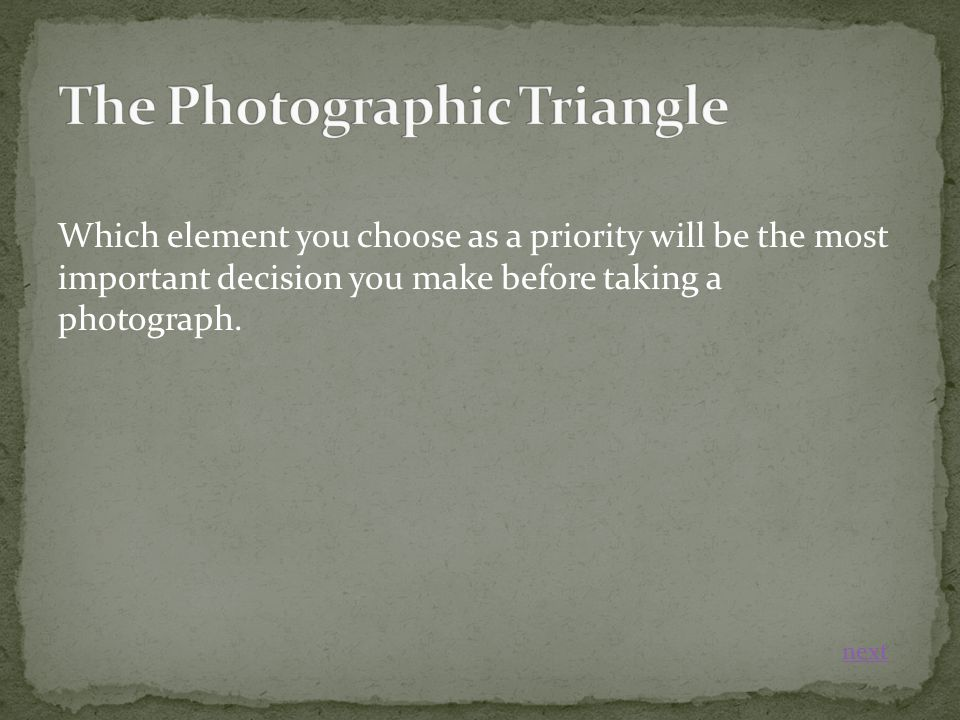Which element you choose as a priority will be the most important decision you make before taking a photograph.