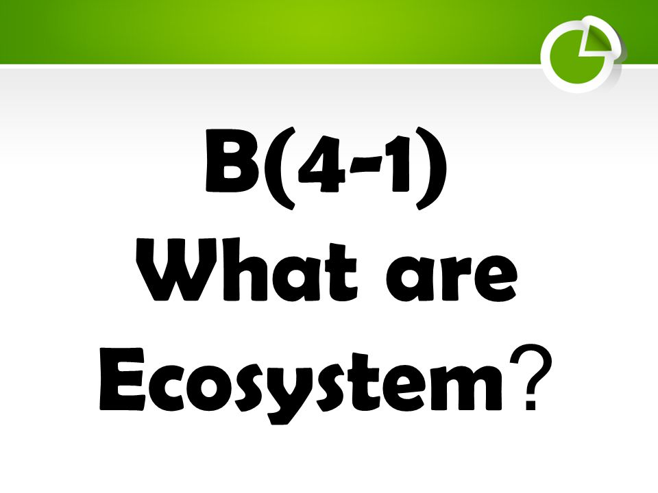 B(4-1) What are Ecosystems.What is an ecosystem.