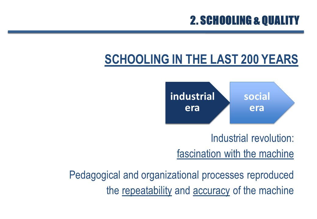 SCHOOLING IN THE LAST 200 YEARS Industrial revolution: fascination with the machine Pedagogical and organizational processes reproduced the repeatability and accuracy of the machine industrial era industrial era social era social era industrial era industrial era 2.