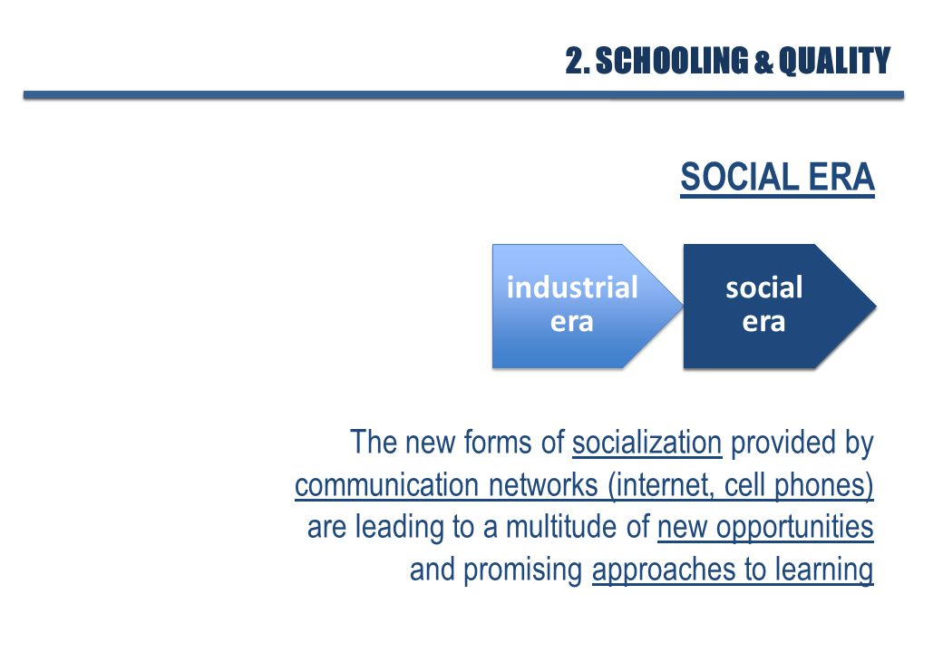 SOCIAL ERA The new forms of socialization provided by communication networks (internet, cell phones) are leading to a multitude of new opportunities and promising approaches to learning industrial era industrial era social era social era social era social era 2.