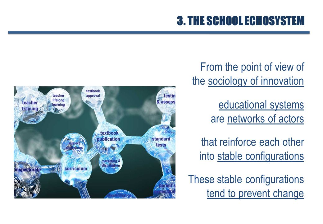 educational systems are networks of actors that reinforce each other into stable configurations From the point of view of the sociology of innovation These stable configurations tend to prevent change 3.