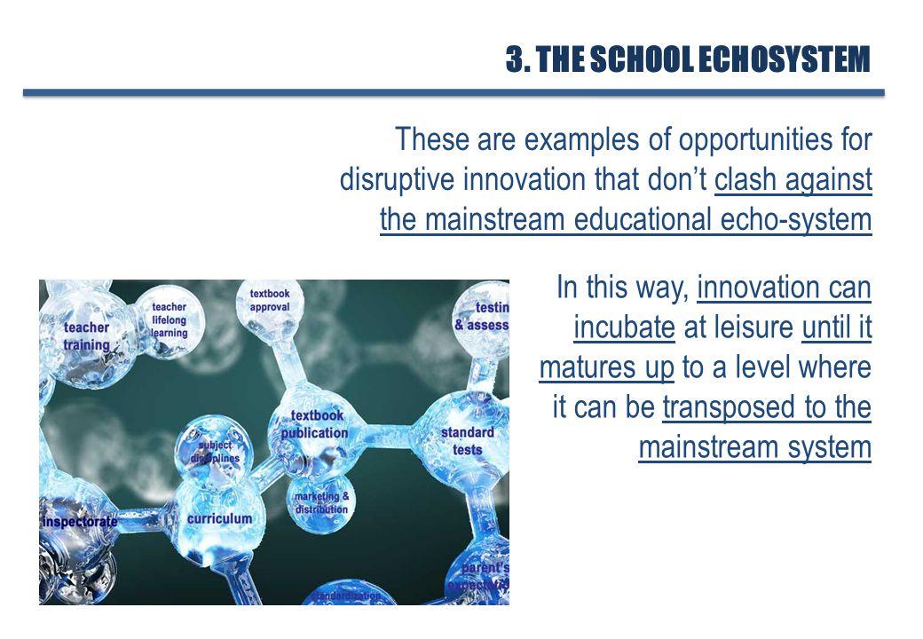 1.TYPES OF INNOVATION 2. SCHOOLING & QUALITY 3. THE SCHOOL ECHOSYSTEM 5.