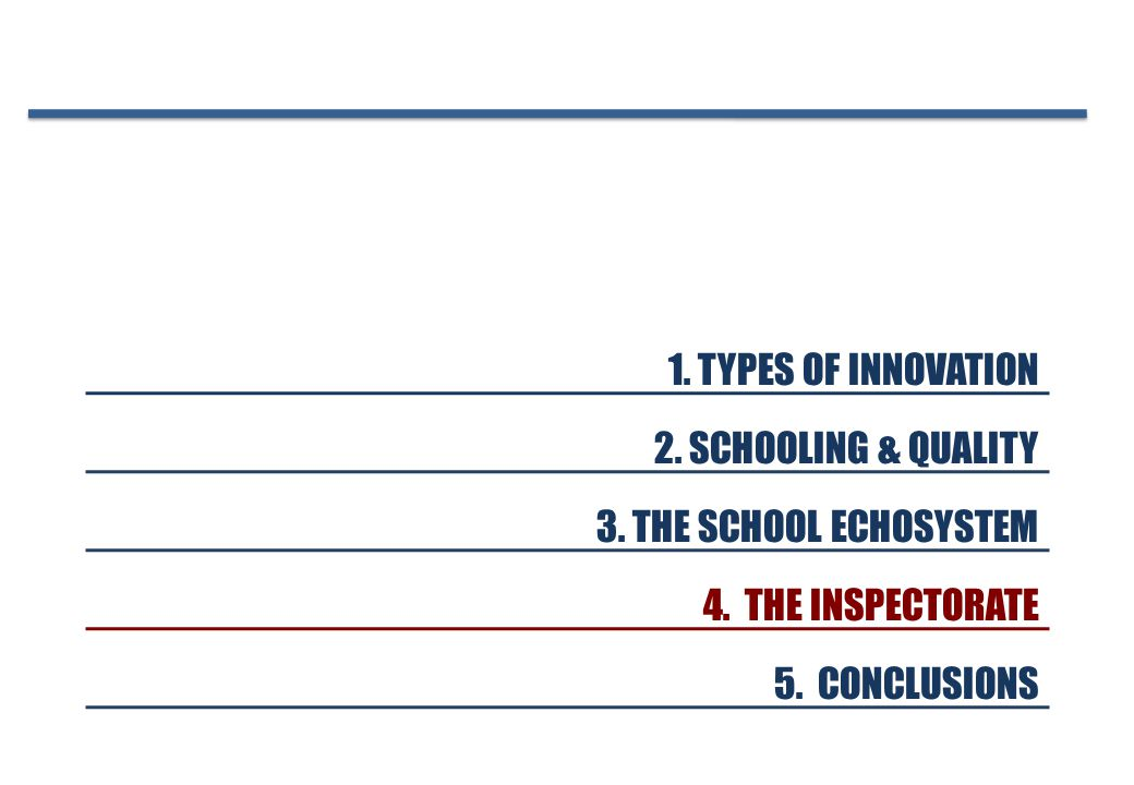 1. TYPES OF INNOVATION 2. SCHOOLING & QUALITY 3.